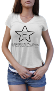 model in evergreen talents tshirt